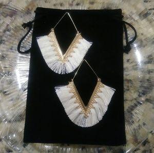 Boho V Shaped Ivory Tassel Earrings